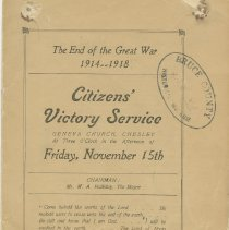 Image of Citizens' Victory Service order of service, page 1