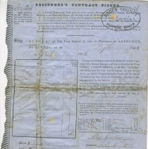 Image of Passenger's Contract Ticket for John Craig, 1856