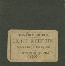 Image of Rules and instructions for the guidance of light keepers, front cover