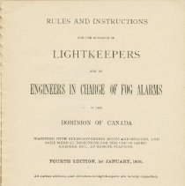 Image of Rules and instructions for the guidance of light keepers, title page