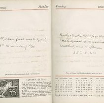 Image of Meteorological Log, 1939, pages 2-3 (sample of book contents)