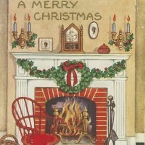 Image of A merry Christmas : greetings to your house postcard front