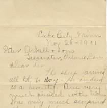 Image of A2012.010.013a,b - Correspondence from James Fleming to Peter Arkell and Sons