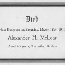 Image of A2012.041.008 - Alexander McLean memorial card