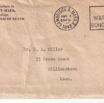 Image of Envelope accompnaying leave of absence letter to Eugene Miller from Harvard