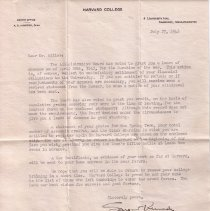 Image of Letter to Eugene Miller re. leave of absence from Harvard during WWII