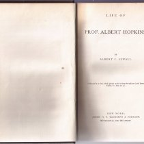 Image of Book -Life of Professor Albert Hopkins.by Albert C. Sewall.    Harcover book with brown cover.  Gold emblem on the front.