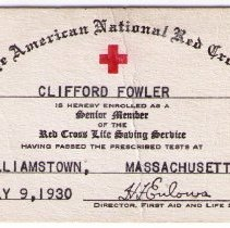 Image of Red Cross ID Card - Clifford Fowler