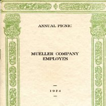 Image of Mueller Co. Picnic Program 1924  cover