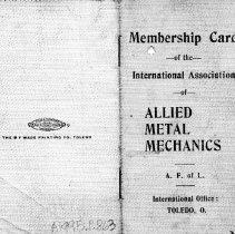Image of Membership Card of  the International Assoc. of Metal Mechanics-- Cover vie