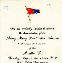 Image of Invitation --Army Navy Production Award to Mueller Co.  May 27, 1943