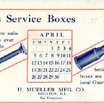 Image of Advertising--Mueller gas service boxes