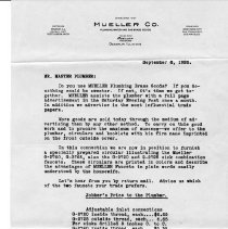 Image of Advertising Letter--From Mueller Co. to Master Plumbers  1926