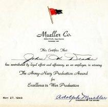 Image of Army/Navy Production Award to John Drake  May 27, 1943