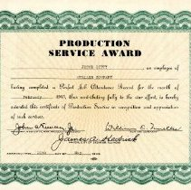 Image of Award--Production Service Award to Jesse Ditty  Feb 1945