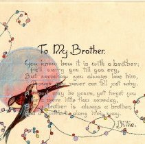 "Image of ""To My Brother ""  card from ""Billie""  (Beatrice Florence Mueller )"
