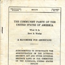 "Image of Govt. Booklet  "" The ""Communist Party of the United States "" 1956"