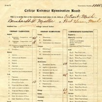 Image of College Entrance Examination Board for Bernhardt Mueller 1920