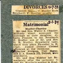 Image of Newspaper Clippings  Divorce and Remarriage of Bernhardt Mueller