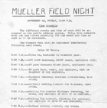 Image of Program for Mueller Field Night  9-16-?