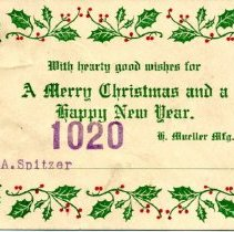 Image of Christmas tag from Mueller Co. to A. Spitzer