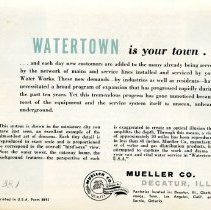 Image of Watertown pamphlet  back view