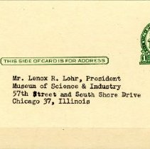Image of Reply Card---Front View