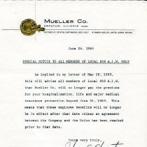 Image of Special Notice to all AIW Members Local 838   June 24, 1965