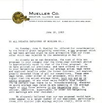 Image of Letter to All Decatur Employees of Mueller Co.  June 10, 1965  Page 1