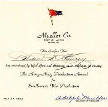 Image of Award- Heleln Hausey- Army/Navy production award  1943