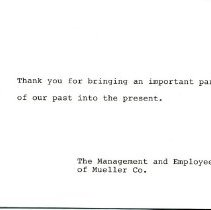 Image of Thank you note from Mueller Co. to Museum   note inside card