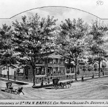 Image of Photo of Illustration of the Residence of Dr. Ira N. Barnes.   c. 1860s