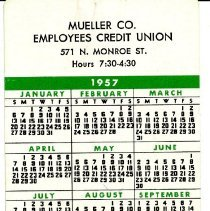 Image of Mueller Employees Credit Union   Pocket Calendar  Front
