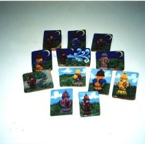 Image of Photograph of a selection of Ceramic Pins made by Shirley Kramer.  Pins have fire hydrant motif and are for sale in the Museum gift shop.  In the photograph are seen 12 different pins.