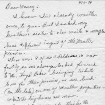 Image of Pauline Hays letter  Page 1