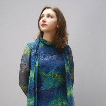 Image of Outerwear - Evening dress, blue and green print silk chiffon
