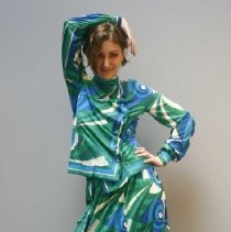 Image of Outerwear - Two piece blue, green and white dress