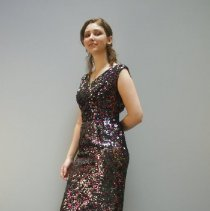 Image of Black & Pink Sequened Dress  2