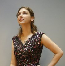 Image of Outerwear - Short cocktail dress, pink and silver sequins