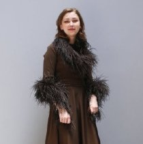 Image of Outerwear - Evening gown, floor-length with feather trim, stole, scarf and sash