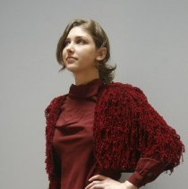 Image of Outerwear - Three-piece burgundy outfit with chenille jacket