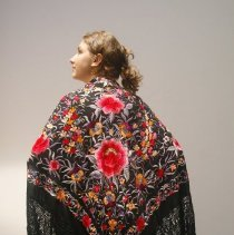 Image of Outerwear - Black Spanish shawl, rayon with embroidery