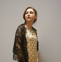 Image of Gold & Black Beaded Evening Dress  2