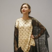 Image of Gold & Black Beaded Evening Dress  3