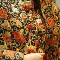Image of Detail  Orange & Black Brocade Dress