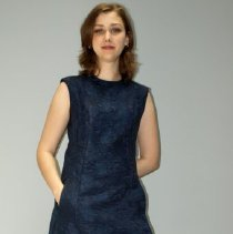 Image of Outerwear - Navy blue coat and dress with white mink trim