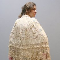Image of White Shawl Cape  1