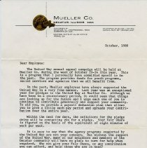 Image of President's letter to Mueller Employees  1980