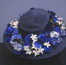 Image of Blue Straw Hat with Flowers 2