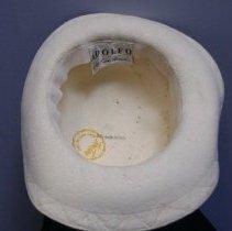 Image of Interior of Cream colored hat.